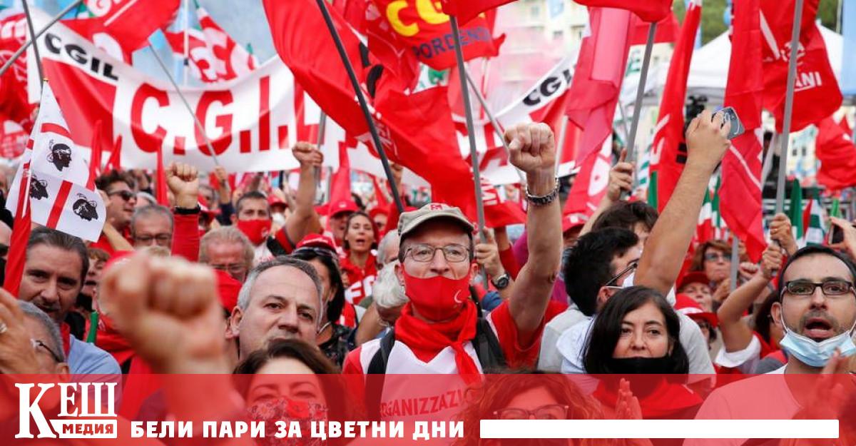 """Със скандирания """"Basta fascismo"""" демонстрантите поискаха фашистки движения като Fuorza"""